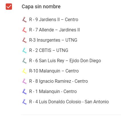 Bus routes in San Miguel de Allende